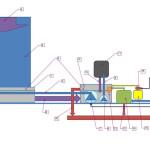 1. Auffangwanne, 2. Flutfläche, 3. Zufluss zur Wasserwand, 4. Wasserspiegel, 5. Wasserfilm auf Flutfläche, 6. Rückfluss zum Tecnikbecken, 7. Umwälzpumpe groß pumpt zur Wasserwand, 8. Umwälzpumpe klein pumpt zum Filter, 9. Zufluss zum Filter, 10. Rückfluss von Filter zu Technikbecken, 11. Schmutzfilter, 12. Technikbecken, 13. Schwimmerventil, 14. Umkehr-Osmose-Anlage, 15. Kanister mit Wasserzusatz gegen Kalk, Algen und Keime, 16. Dosiergerät für Wasserzusatz, 17. Steckdose mit FI 0,03 Ampere, 18. Frischwasser-Zufuhr , 19. Abfluss, 20. Überlaufschutz an Technikbecken