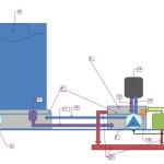 Wasserwand mit Pumpe in Auffangwanne und restlicher Technik nebenan
